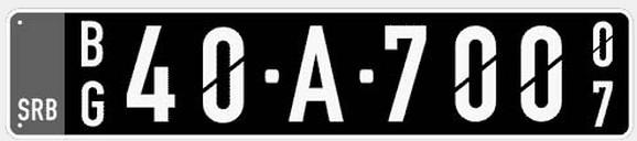 Primer tablice za vozila u vlasništvu diplomatskih i konzularnih predstavništava misija stranih država i predstavništava međunarodnih organizacija u Republici Srbiji i njihovog osoblja koje ima diplomatski status