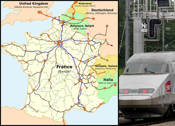To ojczyzna szybkiej kolei na Starym Kontynencie. Pierwszą linię kolejową przeznaczoną dla kolei dużych prędkości otwarto w 1981 roku. Linia to połączyła Paryż z Lyonem. Dziś francuska sieć dużych prędkości liczy 2037 km długości, co daje jej drugie miejsce w Europie. Na mapie kolorem niebieskim zaznaczono istniejące linie wysokich prędkości (LGV). Na czerwono – linie wysokich prędkości, które znajdują się poza Francją, ale są połączone z francuską siecią. Na czarno linie konwencjonalne, po których poruszają się pociągi dużych prędkości (TGV). Liniami przerywanymi zaznaczono linie będące w budowie. Kwadratami zaznaczono specjalne stacje, na których zatrzymują się tylko pociągi TGV, zaś okrągłymi punktami oznaczono stacje konwencjonalne, przeznaczone m.in. dla TGV. Na slajdzie: Mapa sieci połączeń pasażerskich kolei francuskich (SNCF), uwzględniająca międzynarodowe połączenia pociągami TGV. Źródło: Wikimedia Commons. Autor mapy: madcap. Praca oparta na mapie opublikowanej na stronie internetowej firmy SNCF.