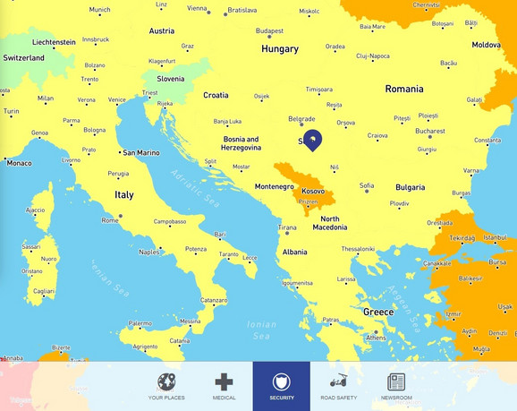 Po putnoj bezbednosti Srbija je niskorizična, kao i ostatak regiona, sem Kosova koje je visokorizično