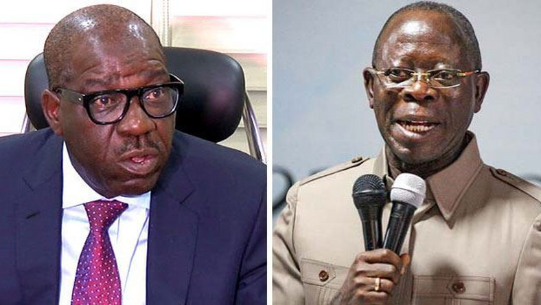 Governor Godwin Obaseki of Edo State and his predecessor, Adam Oshiomhole, who is now the National Chairman of the ruling All Progressives Congress, (ChannelsTV)