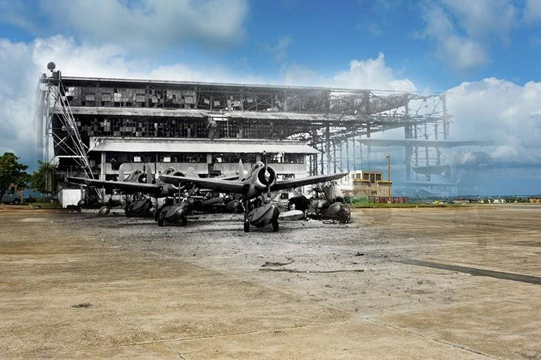 Hangar 6 on Ford Island stands badly damaged after the attack.