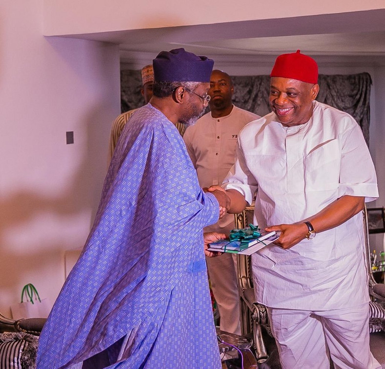 Former Abia Governor and Senator-Elect, Chief Orji Uzor Kalu and Mr Femi Gbajabiamila [Twitter/@femigbaja]
