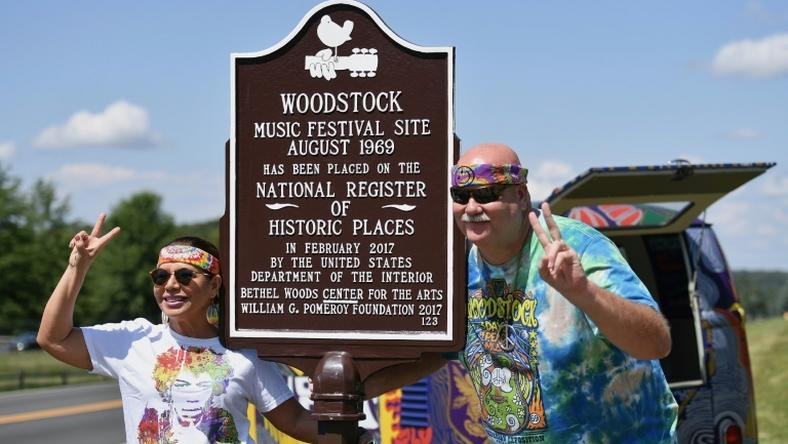 The original site of the 1969 Woodstock festival is becoming a sea of tie-dye and peace signs once more, as one-time festivalgoers celebrate the 50th anniversary of the pop culture milestone
