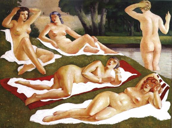 """Slika """"Kraj šumarka"""" (1935) nastala je u Šidu, a kupačica u sredini je akt Kiki sa slike """"Jutro"""""""