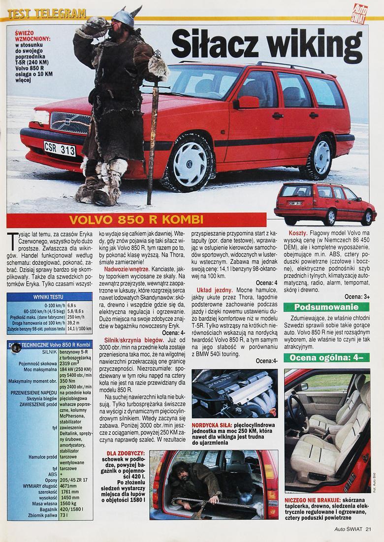 """W numerze 7. Auto Świata z lutego 1996 r. zaprezentowaliśmy ostatniego szwedzkiego """"kanciaka"""" – model 850 R z nadwoziem kombi."""