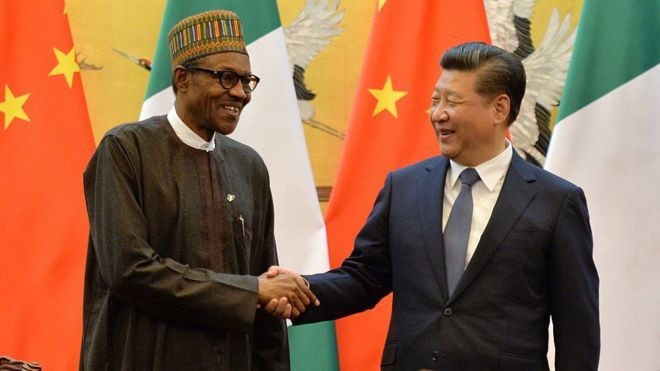 President of the Federal Republic of Nigeria, Muhammadu Buhari (L) and Chinese President Xi Jinping