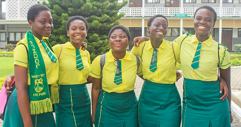 Nana Adwoa (far right) with friends during her time in high school