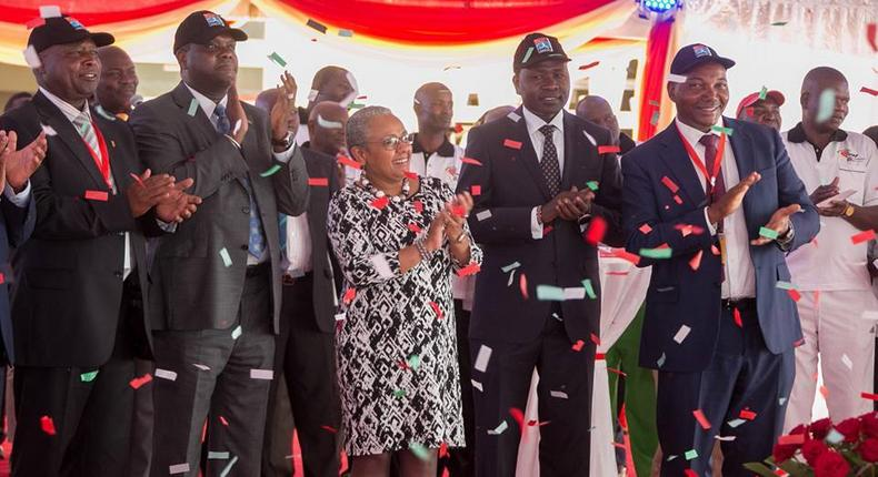 The First Lady Margaret Kenyatta (centre) during the launched of the World youth Championships at Kasarani, Nairobi.