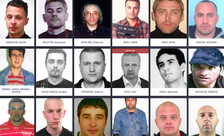 Lista poszukiwanych obejmuje 45 osób, fot. eumostwanted.eu