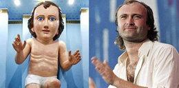Wielka figura dzieciątka Jezus. Wygląda jak Phil Collins