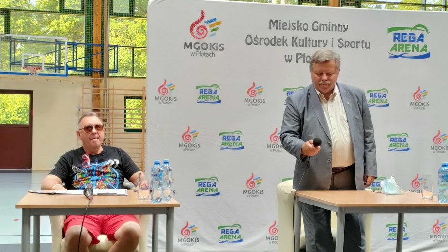 Jurek Owsiak i burmistrz Płotów Radosław Mackiewicz