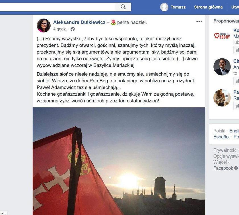 Wzruszający wpis Aleksandry Dulkiewicz