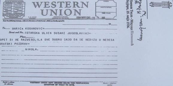 """""""Samo da me ne dižu u nebesa"""", piše u telegramu koji je Tesla maja 1936. iz Njujorka poslao sestri Marici"""