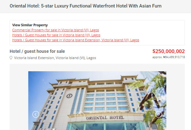 A screenshot of ad announcing the sale of Lagos Oriental hotel at a popular property listing site (Pulse)