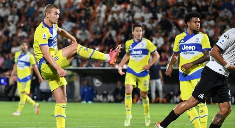 Matthijs De Ligt's strike at Spezia earned Juve their first win of the season Creator: ANDREAS SOLARO