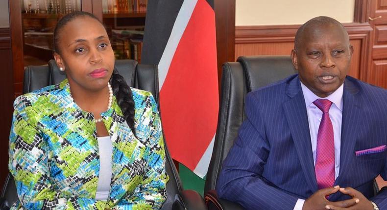 Nyeri Governor Mutahi Kahiga (R) with his DG Carol Karugu (L)