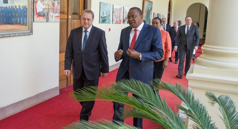 President Uhuru Kenyatta with Russian President's Special Envoy for the Middle East and Africa, Mr Mikhail Bogdanov