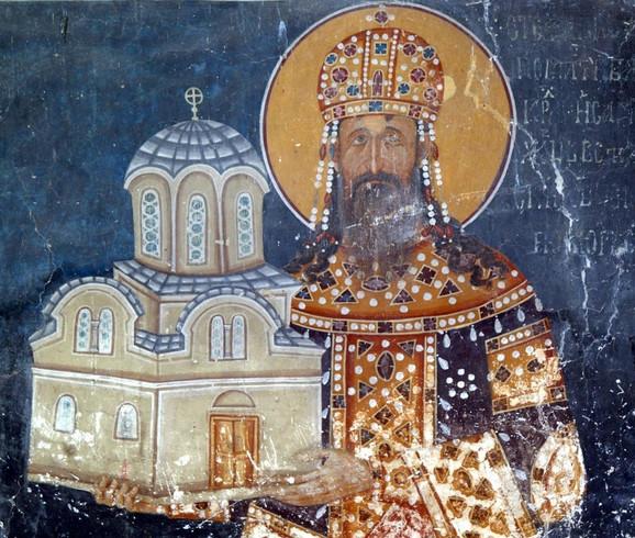 Ktitorski portret kralja Milutina u Kraljevoj crkvi u Studenici, oko 1314.
