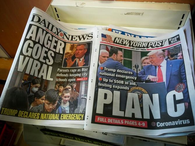 Sada je u američkim novinama korona virus broj jedan