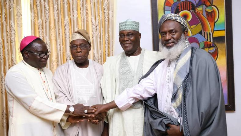 From L-R Bishop Mathew Kukah, Olusegun Obasanjo, Atiku Abubakar and Sheikh Gumi