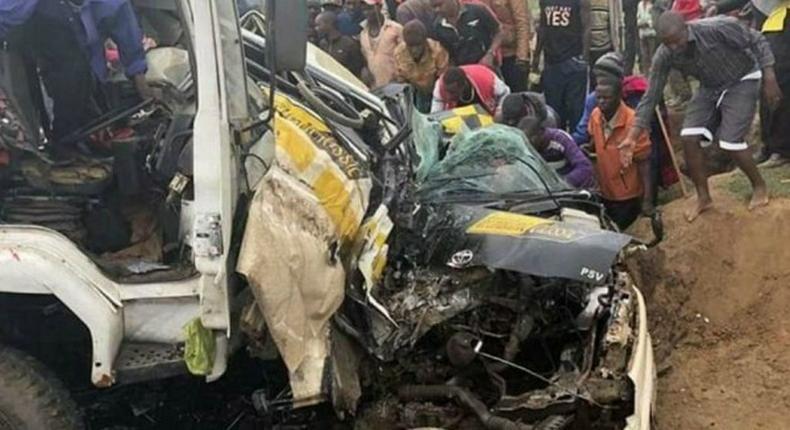 A past accident along the Mai Mahiu-Narok highway