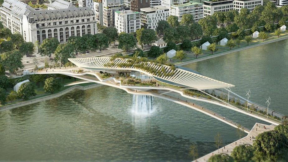 Most z wodospadem w Paryżu
