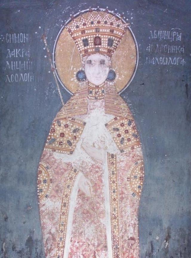 Freska iz Gračanice na kojoj je prikazana Simonida, oko 1320.