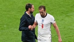 England forward Harry Kane walks off the pitch after being substituted Creator: FACUNDO ARRIZABALAGA