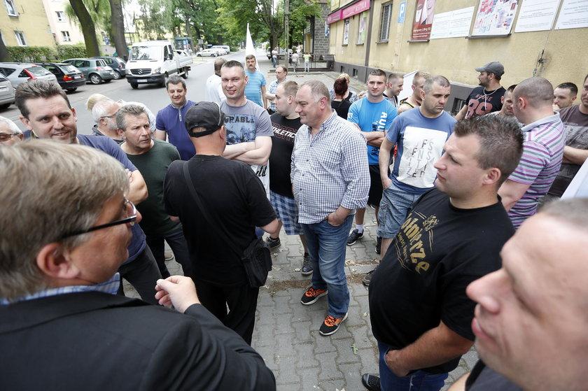 Pikieta górników z KWK Makoszowy w Brzeszczach