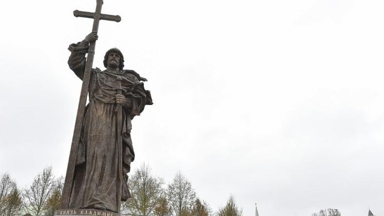 The 17-metre monument of Vladimir, has sparked controversy over fears it could blot Moscow's historic centre