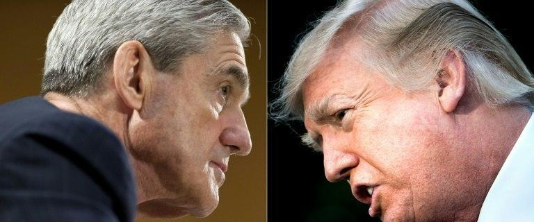 "Special Counsel Robert Mueller (L) is conducting a ""total witch hunt,"" said US President Donald Trump"
