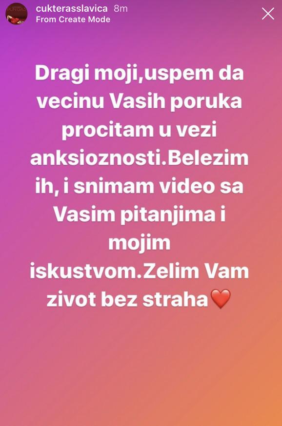 Objava Slavice Ćukteraš