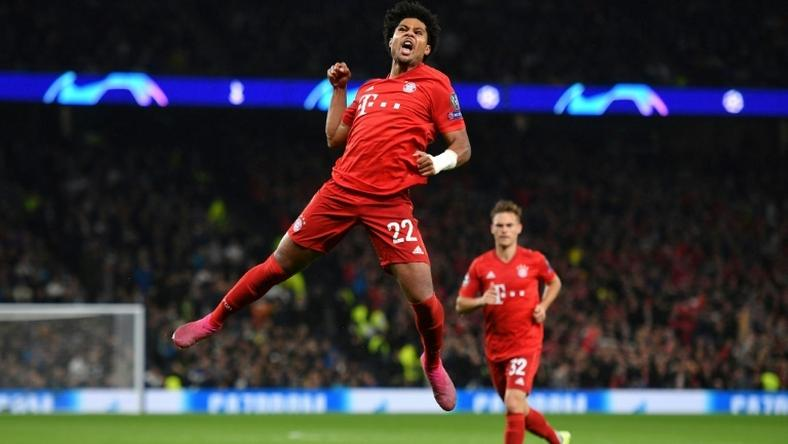 Serge Gnabry (C) celebrates after scoring four goals for Bayern Munich in their 7-2 thrashing of Tottenham Hotspur in the Champions League two weeks ago