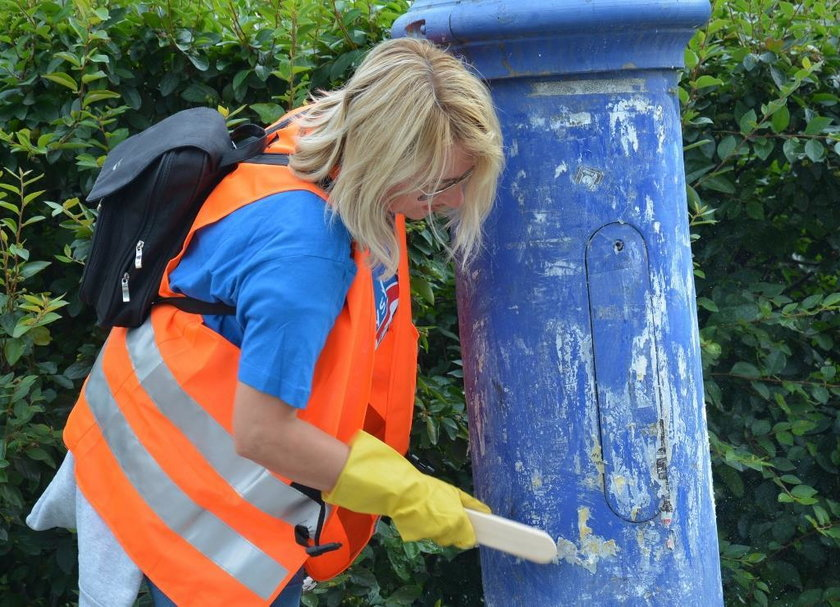Urzędnicy i mieszkańcy miasta czyścili słupy