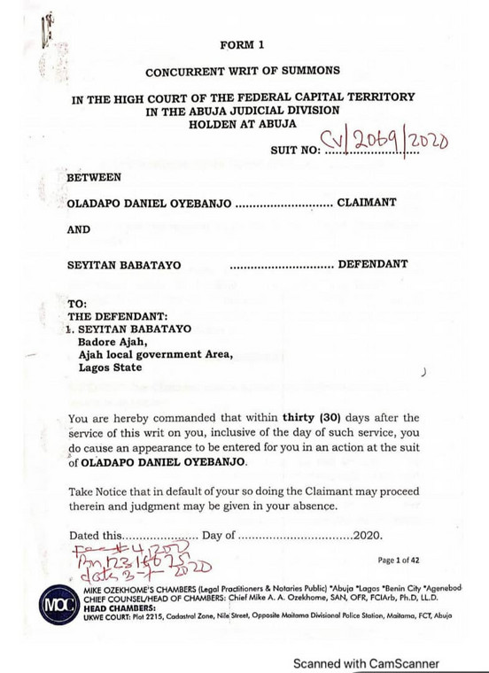 Part of the letter released by the music star's lawyers, Mike Ozekhome and Co [LindaIkeji]