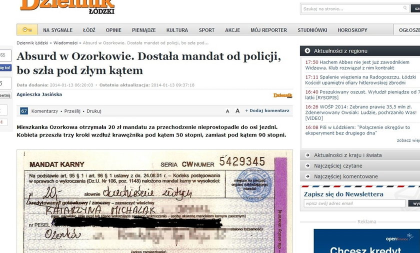 Absurdalny mandat na 20 zł