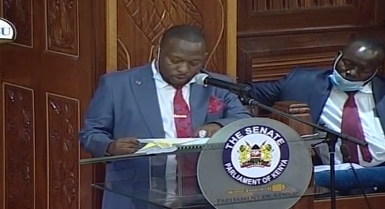 Nairobi Governor Mike Sonko during a hearing of his impeachment motion at the Senate