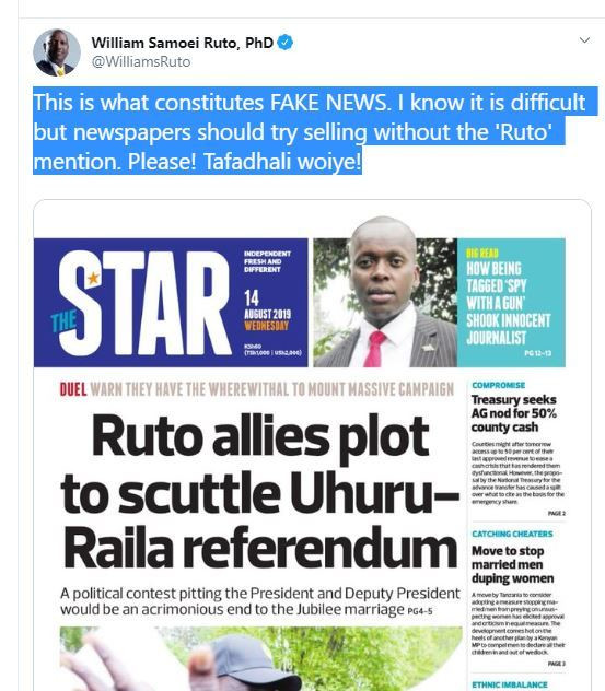 DP Ruto pleads with Newspapers to refrain from using his name to spread fake news