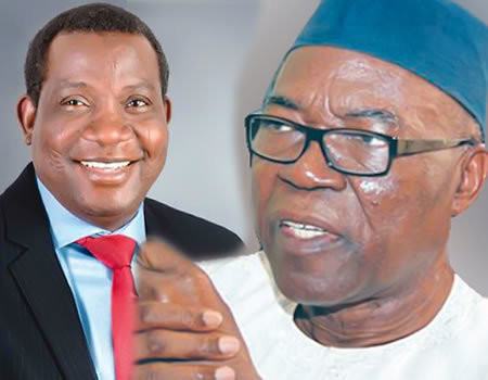 Plateau State governor, Simon Lalong (left), and PDP governorship candidate, Jeremiah Useni (right)