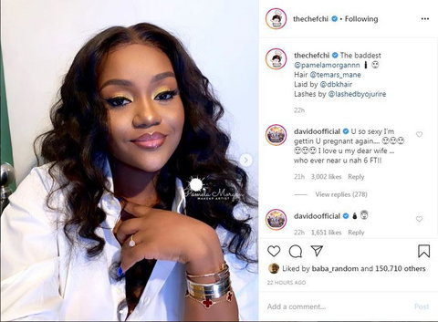 One of the cutest conversations you'd spot on social media today is that of Davido promising to get his fiancee, Chioma pregnant again. [Instagram/ChefChioma]