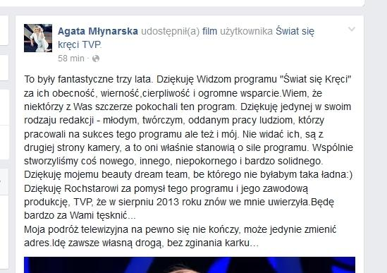 Agata Młynarska na Facebooku