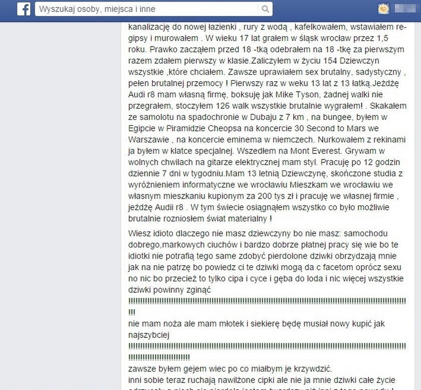 Takie wstrząsające treści zamieszczał w internecie Marcin S. (24 l.) z Krapkowic