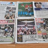 """ČEKALI SU DA UMRE DA BI MU SE OSVETILI!? Englezi zgrozili svet naslovnim stranama posle smrti Maradone, a Francuzi pokazali klasu: """"BOG JE UMRO"""""""