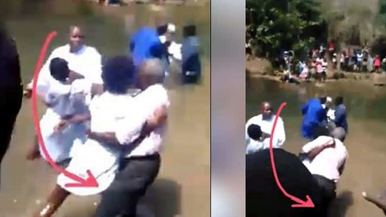 Lady attacks pastor during baptism, drags him into the river(video)