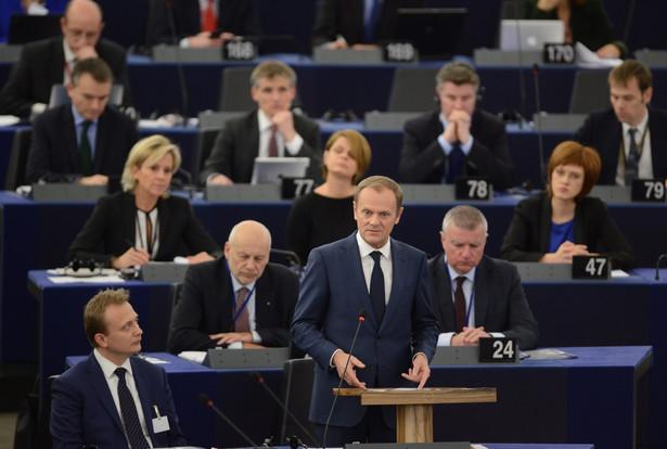 Szef Rady Europejskiej Donald Tusk przemawia w Parlamencie Europejskim