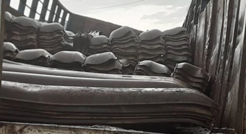 One of the truckload of rail sleepers recovered from rail track vandals (TheCable)