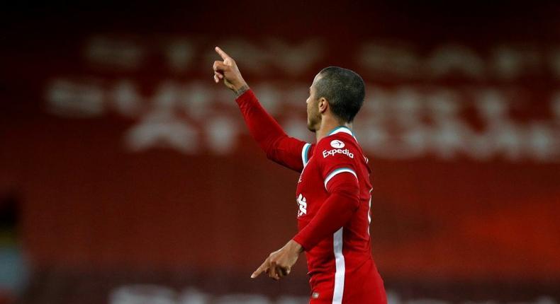 Liverpool midfielder Thiago Alcantara is in his second season at the club Creator: PHIL NOBLE