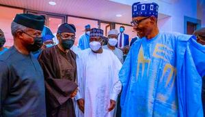 L-R: Vice President, Yemi Osinbajo; Speaker, House of Representatives, Femi Gbajabiamila; Senate President, Ahmad Lawan; and President Muhammadu Buhari [Presidency]