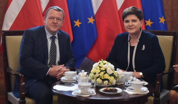 Premier Beata Szydło i premier Danii Lars Lokke Rasmussen podczas spotkania w Warszawie.