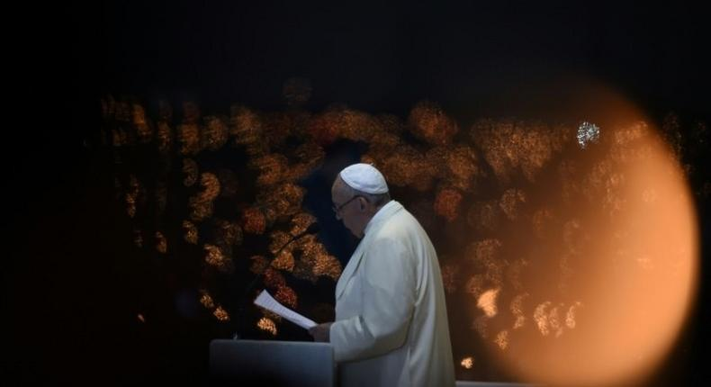 Pope Francis speaks during the Blessing for the Candles from the Chapel of the Apparitions, in Fatima on May 12, 2017